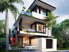 Your dream home is your reflection & we design it as you want. Having Expertise in, ▪ Elite Class Bungalow Modeling and Rendering ▪ Walkthrough Animation for Bungalow ▪ Interior Rendering. Get your dream home designed by us, Call Or WhatsApp Us On: Modern Exterior House Designs, Modern Small House Design, Modern House Facades, Modern Bungalow, Bungalow House Design, House Front Design, Bungalow Exterior, 3d Architectural Visualization, House Elevation