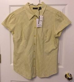 NY Co Casual Blouse Short Sleeve Button Front Collared Olive Green Print Size XL #NewYorkCompany #ButtonDownShirt #CareerCasualClub