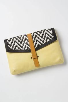 {Laguna Woven Clutch} b+w woven detail with pale chartreuse leather. lovely!