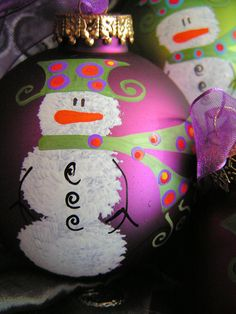 Snowman  Whimsical Hand Painted Ornament by ToNYaBeSToRDeSiGNS