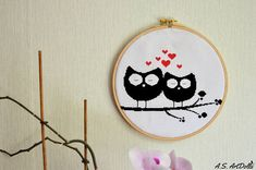 Cross stitch cross stitch pattern Sweet owls  Black&White
