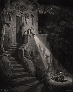 "the-cinder-fields: "" Gustave Doré, illustration for Les Contes de Perrault, 1867 "" Gustave Dore, Art Visionnaire, Arte Alien, Satanic Art, Old Paintings, Black And White Illustration, Wood Engraving, Horror Art, Dark Art"