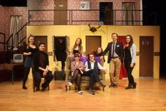 The cast of Noises Off take a brief moment before continuing to panic about their opening night!
