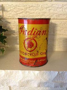 Vintage INDIAN MOTORCYCLE OIL CAN 32 FL. OZ.