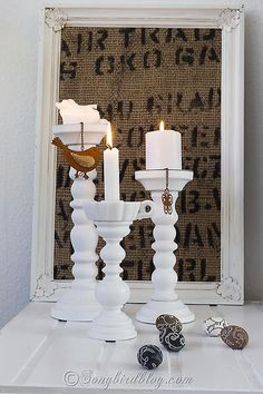 Lamp Makeover: The base of an old thrifted lamp is used to make a lovely wooden candle stick.