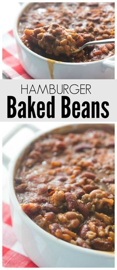 These Baked Beans are filled with flavor and the hamburger and bacon bites take them over-the-top good! Perfect for summer BBQ and potlucks! (Baking Pasta With Ground Beef) Beef Soup Recipes, Baked Bean Recipes, Hamburger Recipes, Ground Beef Recipes, Cooking Recipes, Beef And Beans Recipe, Beans Recipes, Baked Beans Crock Pot, Hamburger Baked Beans