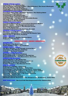 All the music over the Festive Season that PiF is so far aware of. It will be updated as more info arrives. Click on the image to enlarge. Updated 19/12