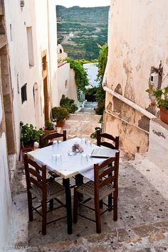 Kithyra, Greece (by Ugo Cei) (All things Europe) Restaurant Table Setting, Restaurant Tables, Oh The Places You'll Go, Places To Travel, Places To Visit, Travel Destinations, Santorini, Mykonos Greece, Beautiful World