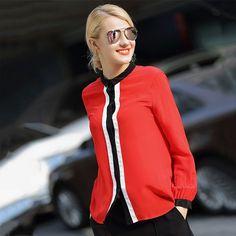 2016 Sale Rushed Velour Full Oufanci 2017 Spring Summer Ladies Sweet Striped Silk Women Shirts Sleeve Plus Size Loose Blouses Shirt Sleeves, Dame, Bomber Jacket, Spring Summer, Plus Size, Silk, Jackets, Blouses, Shirts
