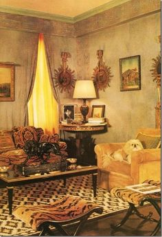 Lee Radziwill Fifth Avenue NY library, anchored by a cream, gold and dark brown geometric decorative rug, probably a Dhurrie. The rug's serrated diamond pattern complements the tiger silk velvet upholstery fabric.