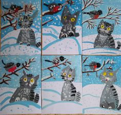 Winter Crafts For Kids Christmas Art Projects, Winter Art Projects, Winter Crafts For Kids, Art For Kids, Kindergarten Art, Preschool Art, January Art, 3rd Grade Art, Art Lessons Elementary