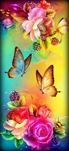 : The post Flowers & Butterflies appeared first on hintergrundbilder. Rose Flower Wallpaper, Flower Background Wallpaper, Butterfly Wallpaper, Butterfly Art, Love Wallpaper, Colorful Wallpaper, Wallpaper Backgrounds, Flower Art, Beautiful Flowers Wallpapers