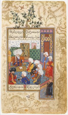 """""""The Great Abu Sa'ud Teaching Law"""", Folio from a Divan of Mahmud `Abd-al Baqi from the Met Museum Object Name: Folio from an illustrated manuscript Date: century Geography: Turkey Culture: Islamic Medium: Ink, opaque watercolor, and gold on paper Turkey Culture, Islamic Paintings, Les Religions, Iranian Art, Oriental, Ottoman Empire, Illuminated Manuscript, Metropolitan Museum, Islamic Art"""