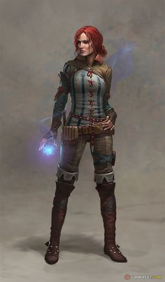 Triss Merigold from the Witcher Saga. The Witcher Assassins of Kings Concept Art Fantasy Rpg, Medieval Fantasy, Fantasy Artwork, Final Fantasy, Fantasy Art Warrior, Dark Fantasy, Dnd Characters, Fantasy Characters, Female Characters