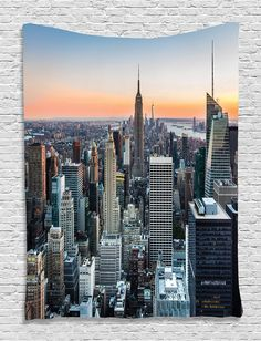 Wall Art Decor New York City Themed Decor Art Picture Rose Quartz Manhattan Skyline Sunset Lighted Fabric Room Divider Panel Landscape Photography Wall Hanging Tapestry for Bedroom, Blue Orange Gray