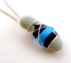 Wire Wrapped Fused Glass Jewellery, Glass Art Pendant Necklace, Blue & Grey, Curb Chain, Etched Glass, Pendant Gift, Seaside Jewellery Gift by JenWillson on Etsy