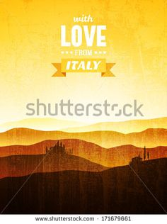 Vintage poster with a landscape of Tuscany - stock vector