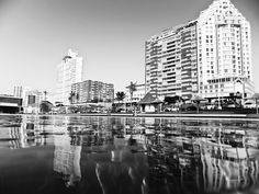 Buildings reflected in the swimming pool surface, Durban, South Africa Life Photography, Apartments, South Africa, New York Skyline, Swimming Pools, Reflection, Buildings, Surface, Prints