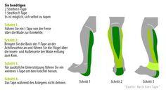 Kinesio Tape Anwendung an der Achillessehne
