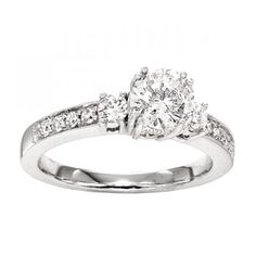 Three Stone Pave Set Diamond Engagement Ring Setting #wedding #settings #diamond #jewelry