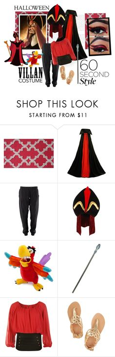 """""""Jafar costume"""" by larinhacarter ❤ liked on Polyvore featuring The Rug Market, Disney, Elope, WearAll, Ancient Greek Sandals, Halloween, 60secondstyle and villaincostume"""