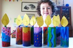 Hanukkah kids project for celebrations around the world.  I can remember making these candles in kindergarten at christmastime.