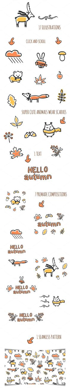Hello autumn collection by Monstreh's illustrations on @Creative Market