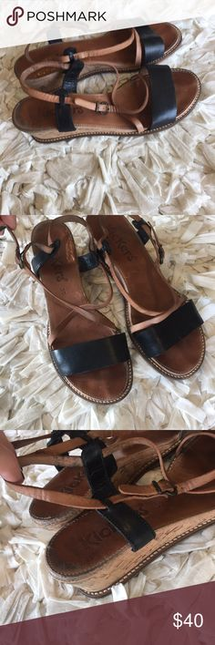 Kickers leather sandals Adorable strappy leather sandals. Two inch cork heel. Kickers Shoes Sandals