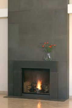 Concrete modern fireplace mantels