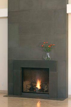 Concrete modern fireplace mantels