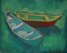 Boat painting  Boats in the Sun  original oil by AngelaOoghe, $45.00