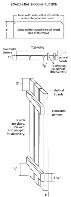 Exterior Board and 'n Batten Cedar Wood Shutters. Specs