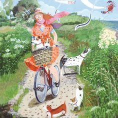 'On Her Bike' By Painter Stephanie Lambourne. Blank Art Cards By Green Pebble. www.greenpebble.co.uk