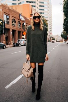 79396a1d9241 Blonde Woman Wearing Everlane Sweater Dress Stuart Weitzman Black OTK Boots  Outfit Celine Mini Belt Bag