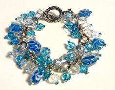 Blue and Ice Glass Charm Bracelet | SunCreations - Jewelry on ArtFire