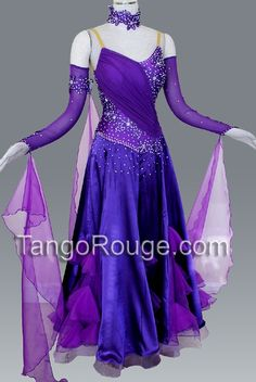 Amethyst Ballroom Ruffle Paso Doble Dance Dress