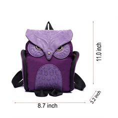 f1a7d5d804f9 Women Girls Cute Owl Cartoon Leather Fashion Backpack Student Bookbag  School Bag - Purple - C6185N706YN