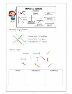 Tipos de líneas 2 Idioma: español (o castellano) Curso/nivel: 2º de primaria Asignatura: Matemáticas Tema principal: Rectas, semirrectas y segmentos Otros contenidos: Worksheets, Line Chart, Diagram, Math, Texts, Activities, Geometry Activities, Types Of Lines, Interactive Notebooks