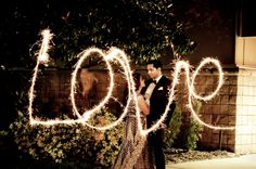 Great idea for a couple wedding portrait.  Use a long exposure and have someone write 'love' with a sparkler | Beautiful Indian Wedding Florida | Sona Photography