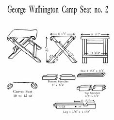 George Washington's Folding Camp Stool Seat No. 2 has a bottom stretcher set into the leg dados. The upper stretcher is mortise & tenon construction. The seat stretcher is pinned to the legs. Camping Stool, Folding Camping Chairs, Folding Furniture, Folding Chair, Woodworking Plans, Woodworking Projects, Leather Diy Crafts, Wood Crafts, Work Chair