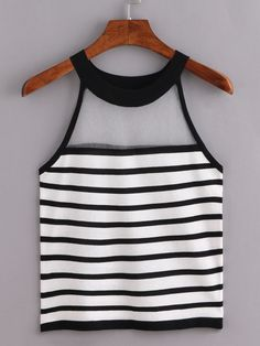 Shop Sheer Halter Neck Black White Striped Knitted Top online. SheIn offers…