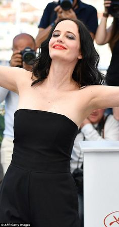 2017 70th CANNES FILM FESTIVAL EVA GREEN at photocall for Roman Polanski's film called 'Based on a True Story'.Strike a pose: She stopped for photographers and flung her arms outwards in delight...
