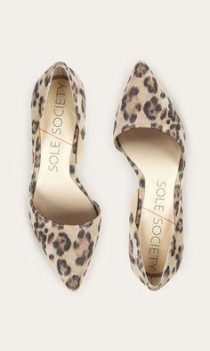Suede leopard print mid heel d'Orsay pump