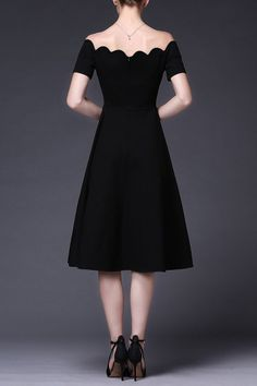 Cys Black Off The Shoulder Scalloped A Line Dress | Midi Dresses at DEZZAL