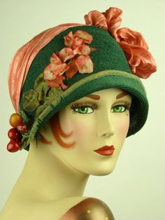 French straw hat. The dark green and rose pink is a beautiful combination.