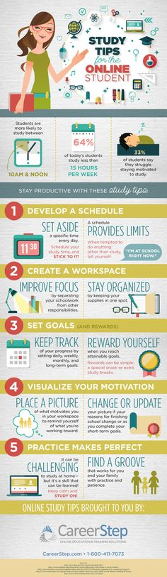 5 Great Study Tips For Online Students Infographic - e-Learning Infographics E Learning, Student Learning, Blended Learning, College Hacks, School Hacks, Motivation Sportive, Formation Continue, Study Techniques, School Study Tips