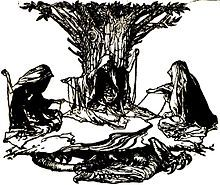 Norns-- (Old Norse: norn, plural: nornir) in Norse mythology[1] are female beings who rule the destiny of gods and men. They roughly correspond to other controllers of humans' destiny, the Fates, elsewhere in European mythology.  In Snorri Sturluson's interpretation of the Völuspá, Urðr (Wyrd), Verðandi and Skuld, the three most important of the Norns, come out from a hall standing at the Well of Urðr or Well of Fate. They draw water from the well and take sand that lies around it, which…