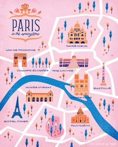 map of Paris by Clairice Gifford . map of Paris by Clairice Gifford Paris Map, Paris Travel, Paris Poster, Travel Maps, Travel Posters, Travel Destinations, Paris Must See, Map Design, Graphic Design