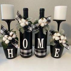 Glass Bottle Crafts, Wine Bottle Art, Painted Wine Bottles, Diy Bottle, Wine Bottles Decor, Decorate Wine Bottles, Wine Bottle Decorations, Wrapped Wine Bottles, Wine Glass Candle Holder