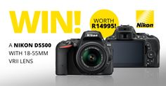 WIN a Nikon D5500 camera! We are giving away a Nikon D5500 DSLR Camera with 18-55mm f/3.5-5.6 VR II Lens worth R14,995! Nikon D5500, Vr, Giveaways, Competition, Connection, Lens, Photography, Photograph, Photo Shoot